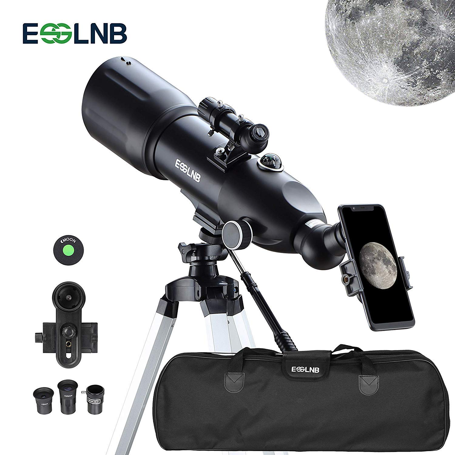 ESSLNB Telescopes for Adults Kids Astronomy Beginners 80mm Astronomy Telescopes with 10X Phone Mount Refractor Telescope Tripod and Case by ESSLNB