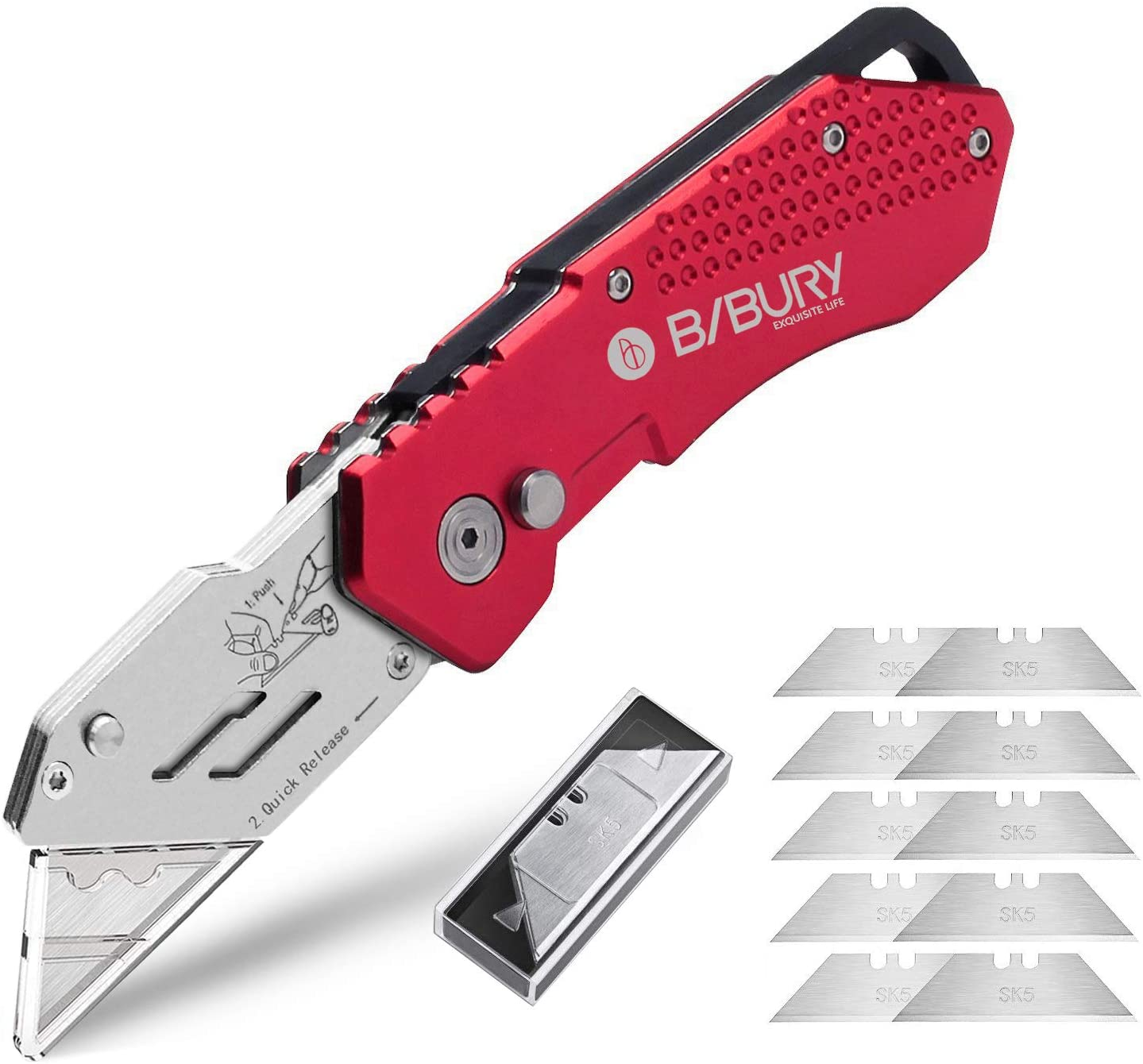 Utility Knife, BIBURY Upgraded Version Heavy Duty Box Cutter Pocket Carpet Knife with 10 Replaceable SK5 Stainless Steel Blades, Belt Clip, Easy Release Button, Quick Change and Lock-Back Design