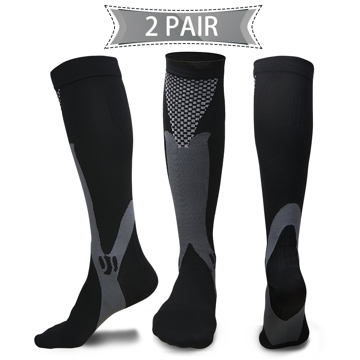 Compression Socks for Men & Women(2 Pairs), BEST Medical Grade Graduated Recovery Stockings for Nurses, Boost Stamina, Varicose, 20-30 Mmhg Fit for Running, Medical, Flight Travel (Black)