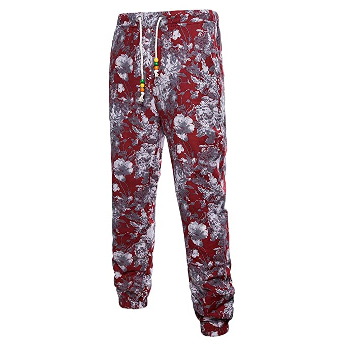 Zhhlinyuan Talla extra Adolescentes Hombres Transpirable Lino Casual Pants Drawstring Deportes Pantalones,Retro Printing