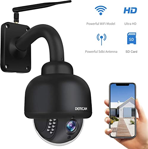 Dericam PTZ WiFi IP Security Camera,1080P Surveillance CCTV Outdoor Camera, Pan Tilt Zoom, 4X Optical Zoom, Night Vision, Motion Detection, IP65Weatherproof Pre-Installed 32G SD Card, Black