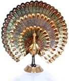 Hashcart Peacock Statue in Decorative Colorful Brass, Good Luck, Finish - Discount- for Home Decor/Gift/Office By
