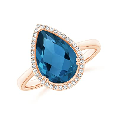 Angara Pear London Blue Topaz Ring with Diamond Halo K2i7vU2Y9X