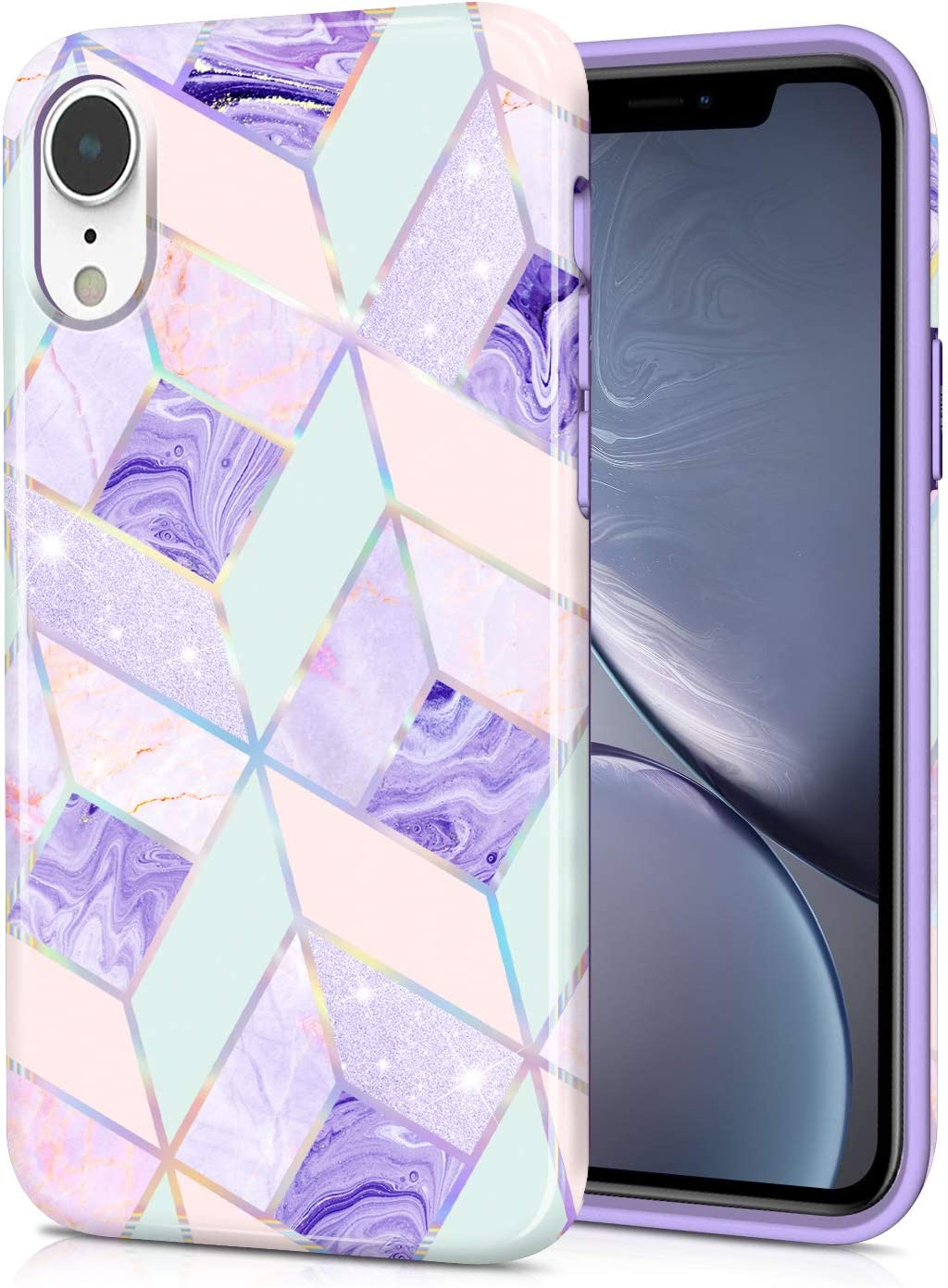CAOUME Holographic Case Marble Soft TPU Silicone Bumper Guard Camera Screen for iPhone XR 2018, Purple Blue 6.1 inches