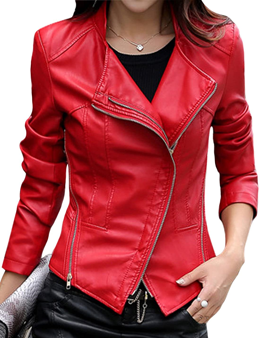 Tanming Womens Short Slim Slant Zip Faux Leather Moto Jacket Multiple Colors