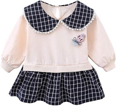 Newborn Infant Kids Baby Girls Princess Party Dress Plaid Long Sleeve Clothes