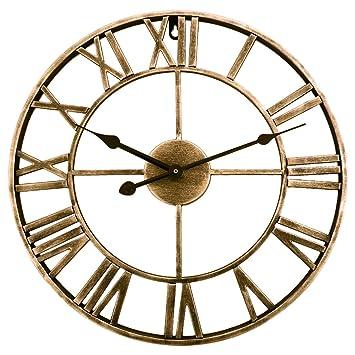 Rolanli Horloge Murale, 40cm Horloge Murale Rétro Horloge Murale  Silencieuse pour La Décoration Intérieure 2e2e4a9cbb50
