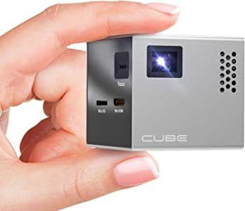 RIF6 CUBE Mini Projector - 2 inch Portable Handheld Projector Screen with Built In Speakers and HDMI Input for SmartPhone, Gaming and Home Movie Theater - Pocket Video Projectors with Full LED Display