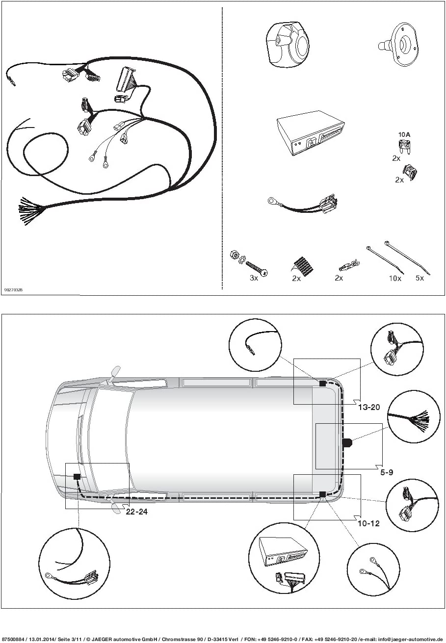 UmbraRimorchi Peugeot Boxer Van 2006-2011 AHK Abnehmbare Anh/ängerkupplung mit 13p Spezifischer E-Satz UT131COR46ZM//WS21500536DE5