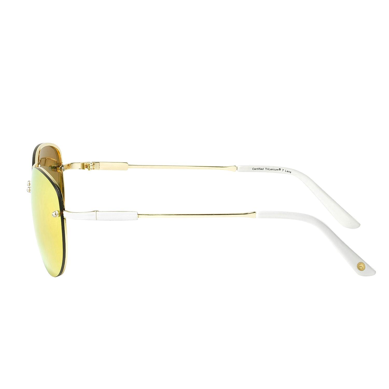 ee7abb2f66 Amazon.com  Eagle Eyes MIRA Aviator Sunglasses - Gold Rimless Womens  Sunglasses with Pink Lenses  Clothing