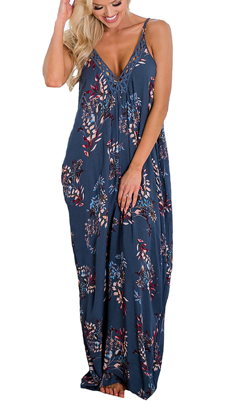 PRETTYGARDEN Women's Spaghetti Strap Floral Print Deep V Neck Boho Maxi Long Flowy Dress with Pocket (Blue, X-Large)