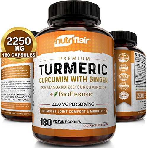 Turmeric Curcumin with Ginger BioPerine Black Pepper Supplement 2250mg, 180 CAPSULES - Anti-Inflammatory, Antioxidant, Anti Aging - 100 Natural, Non-GMO, Vegan Best Maximum Potency, No Side Effects
