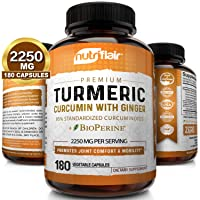 Turmeric Curcumin with Ginger & BioPerine Black Pepper Supplement 2250mg, 180 CAPSULES...
