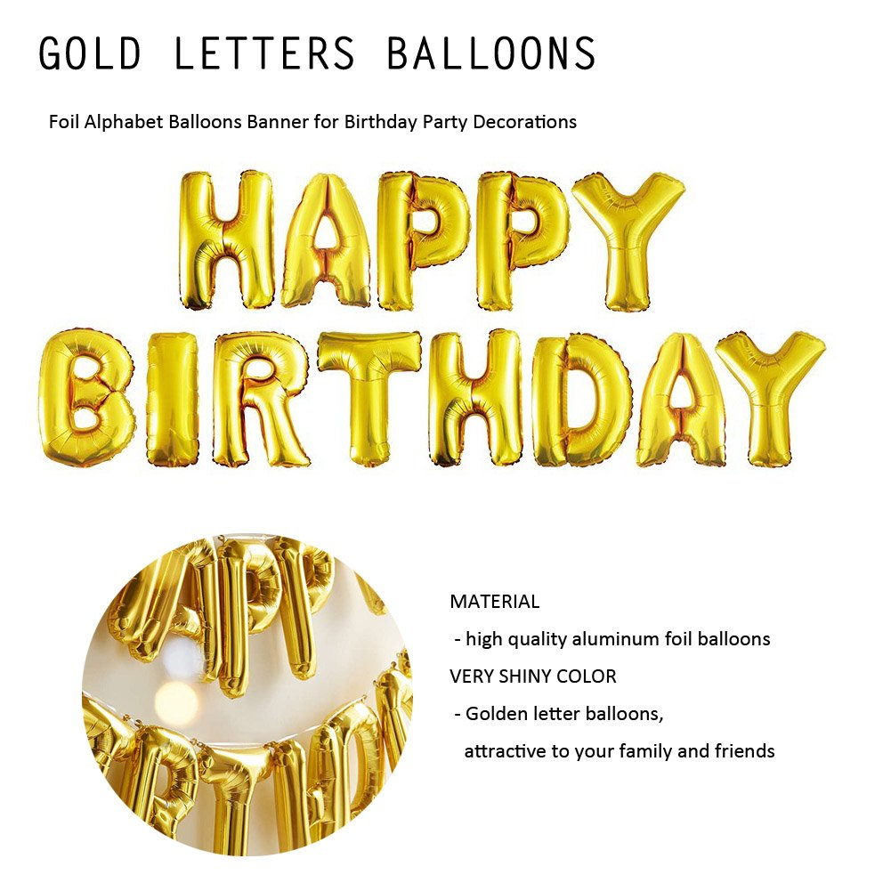 Amazon Happy Birthday Gold Letters Balloons