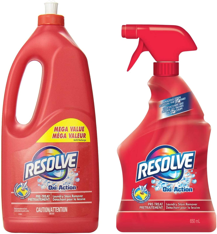 Resolve Oxi Action Pre-Treat Laundry Stain Remover Trigger Spray (22 Fl Oz) & Refill (61 Fl Oz) Mega Value Pack (Total 83 Fl Oz)