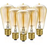 6-Pack Edison Light Bulbs, 60w Vintage Edison Bulb, Squirrel Cage Filament Edison Bulbs, E26 Base - Amber Glass - 110V - Warm