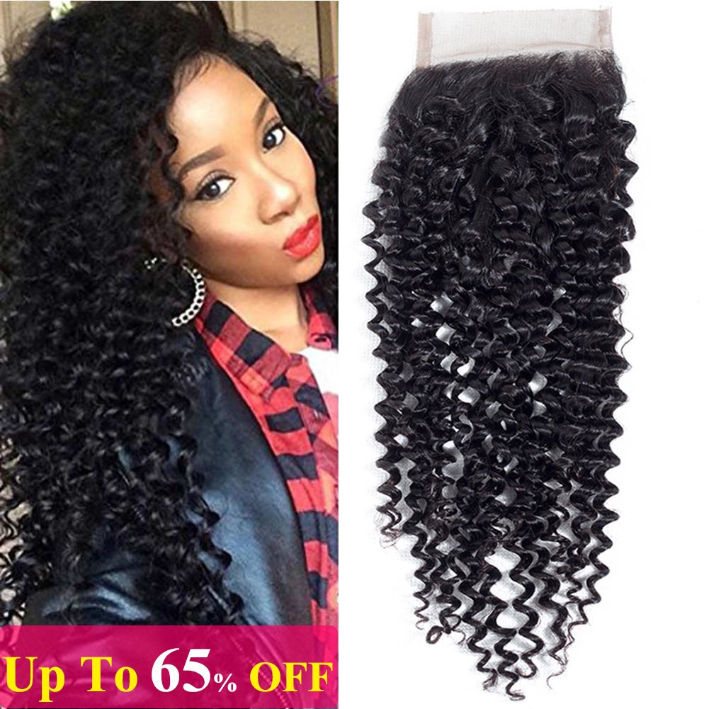 Amella Hair Brazilian Virgin Kinky Curly Hair 4x4 Swiss Lace Closure Free Part 8A 100% Unprocessed Brazilian Curly Hair Closure Natural Black Color (12inch lace closure)
