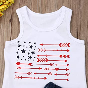 2Pcs Kid Baby Girls 4th of July Outfits Sleeveless Star T-Shirt Vest Ripped Denim Shorts Jeans Set 1-6Y