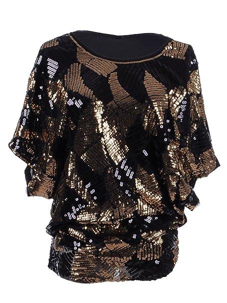 Amazon.com: Anna-Kaci blusa de noche con lentejuelas para ...