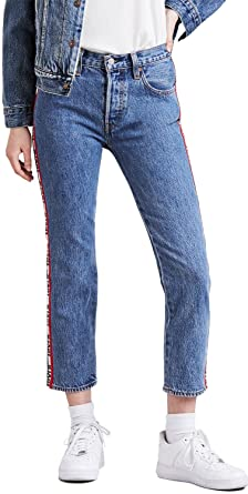 Levis Damen Crop Jeans 501 Original 36200 0113 Blau Amazonde