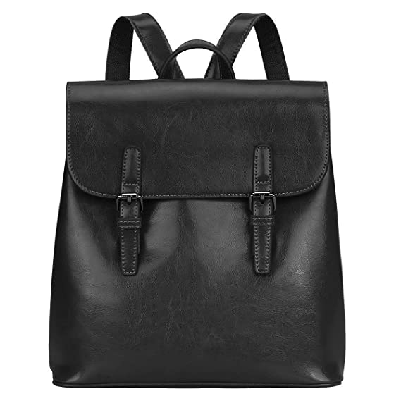 0ca5b46a0a29 S-ZONE Women Leather Backpack Retro Chic Preppy Commuter Bag Daypack (Black)