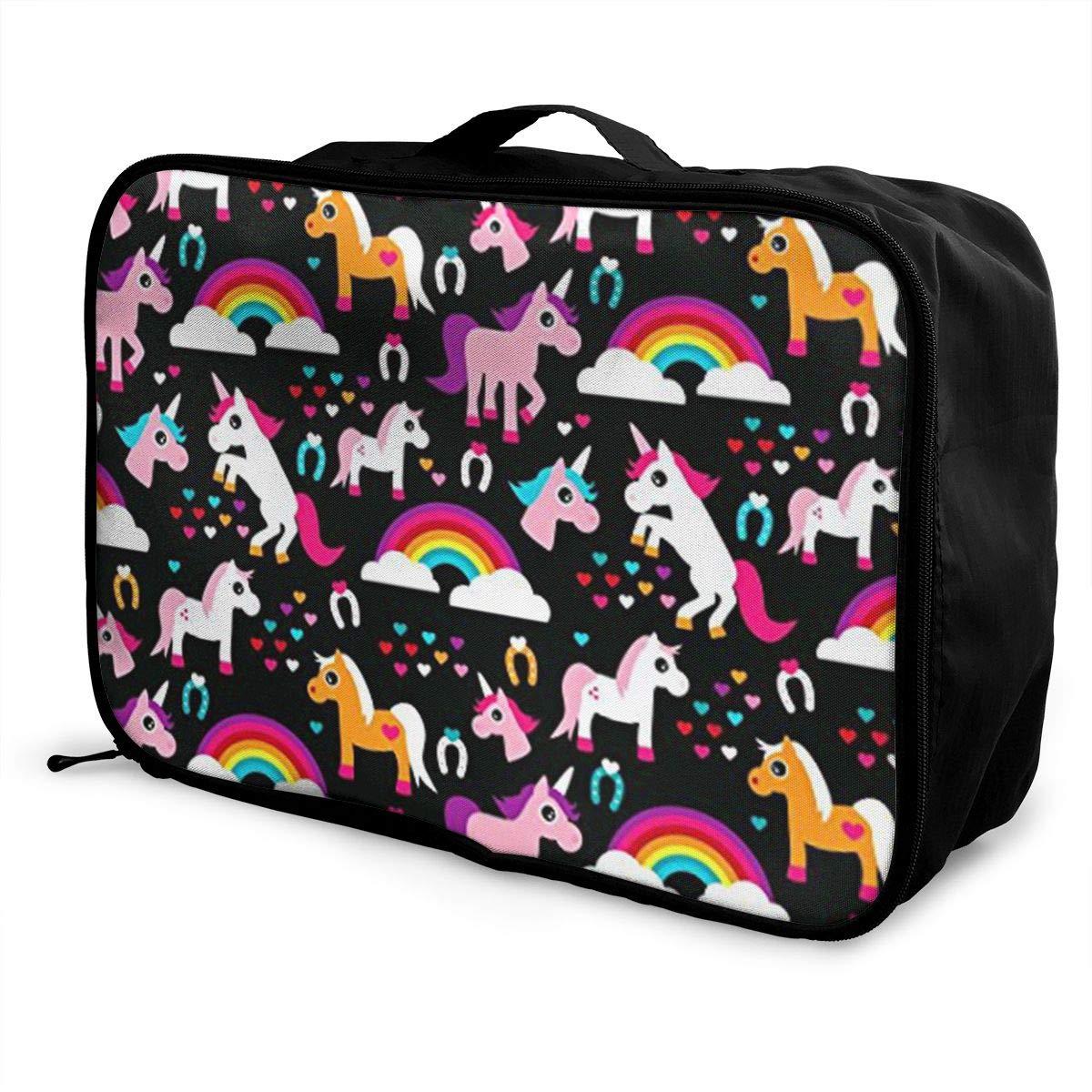 ADGAI Unicorn Rainbow Dream Adorable Horse Canvas Travel Weekender Bag,Fashion Custom Lightweight Large Capacity Portable Luggage Bag,Suitcase Trolley Bag
