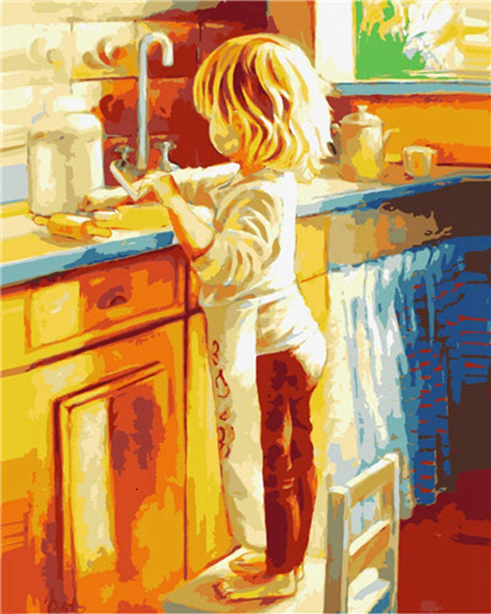 GTZXHNM DIY Acrylic Painting Kit for Beginner,Children Making Food Pictures DIY Oil Painting by Number Home Decoration Drawing On Canvas Handmade Handpainted Art Gift,Frameless