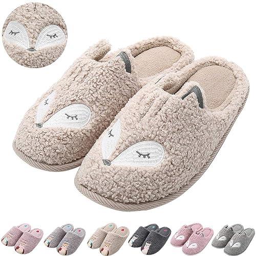 d67047e8014 Womens Cute Animal Slippers Soft Fleece Plush Home Slippers Slip On Memory  Foam Cotton Clog House