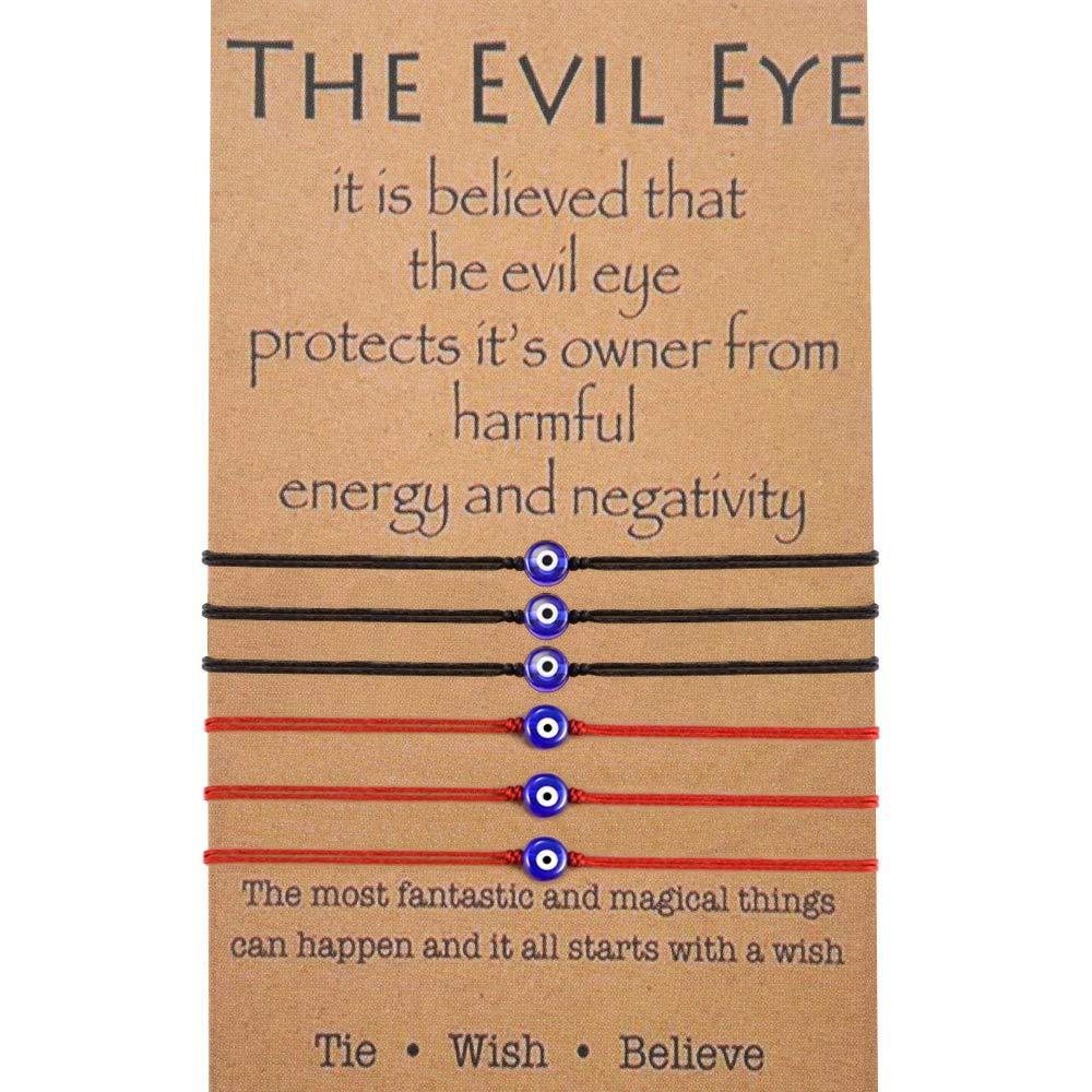 BOCHOI Red String Bracelet Kabbalah Evil Eye Protection Handmade Thread Lucky Bracelet for Women Girls Friendship Wish Bracelet for Daughter Son Grandmother Black (6Pcs) by BOCHOI