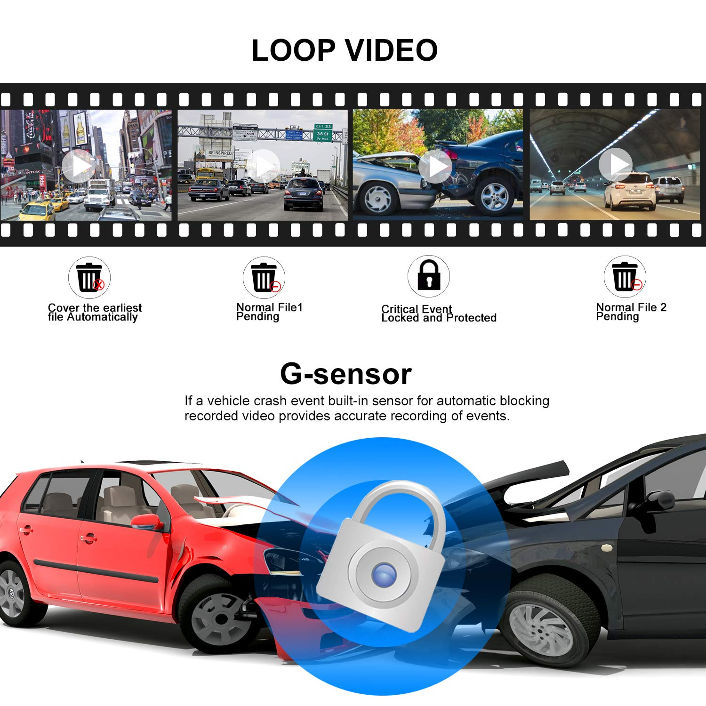 monitor di parcheggio scheda SD da 32 GB Telecamera di backup a specchio da 10con mirroring Dash Cam 170 /° 1080P anteriore e 150 /° 1080P Telecamera di retrovisione Dual Lens con visione notturna