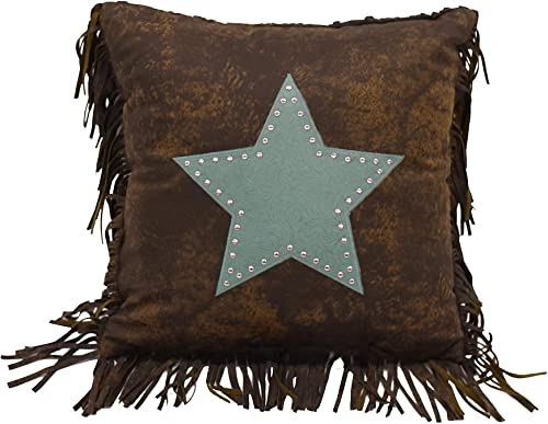 HiEnd Accents Cheyenne Star Faux Leather Western Throw Pillow, 1 6 x 1 6 , Turquoise