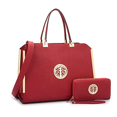 MMK collection Women Fashion Matching Satchel handbags with wallet(6900)~Designer Purse ~Multi Pocket ~ Beautiful Designer Handbag Set (XL-09-6900W-Burgundy)