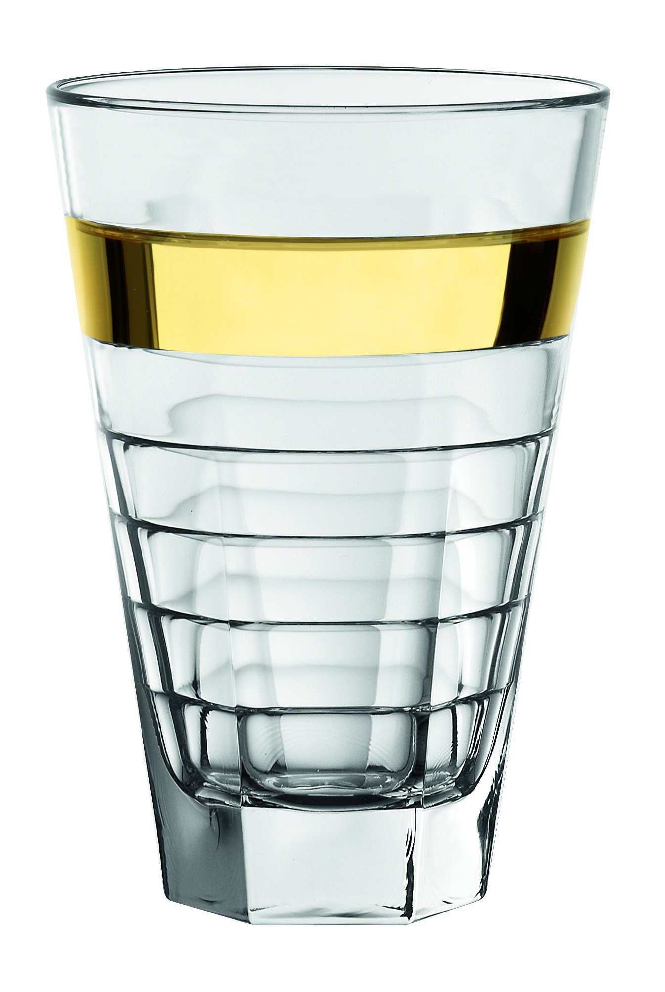 Barski - European Glass - Hiball Tumbler - with Gold Band - 14.5 oz. - Set of 6 Highball Glasses - Made in Europe
