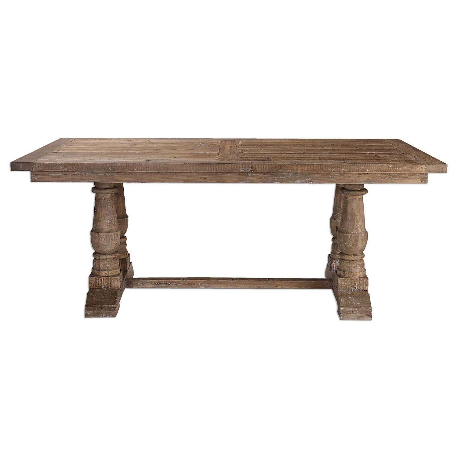 Christmas Tablescape Décor - Rustic baluster column pine farmhouse dining table