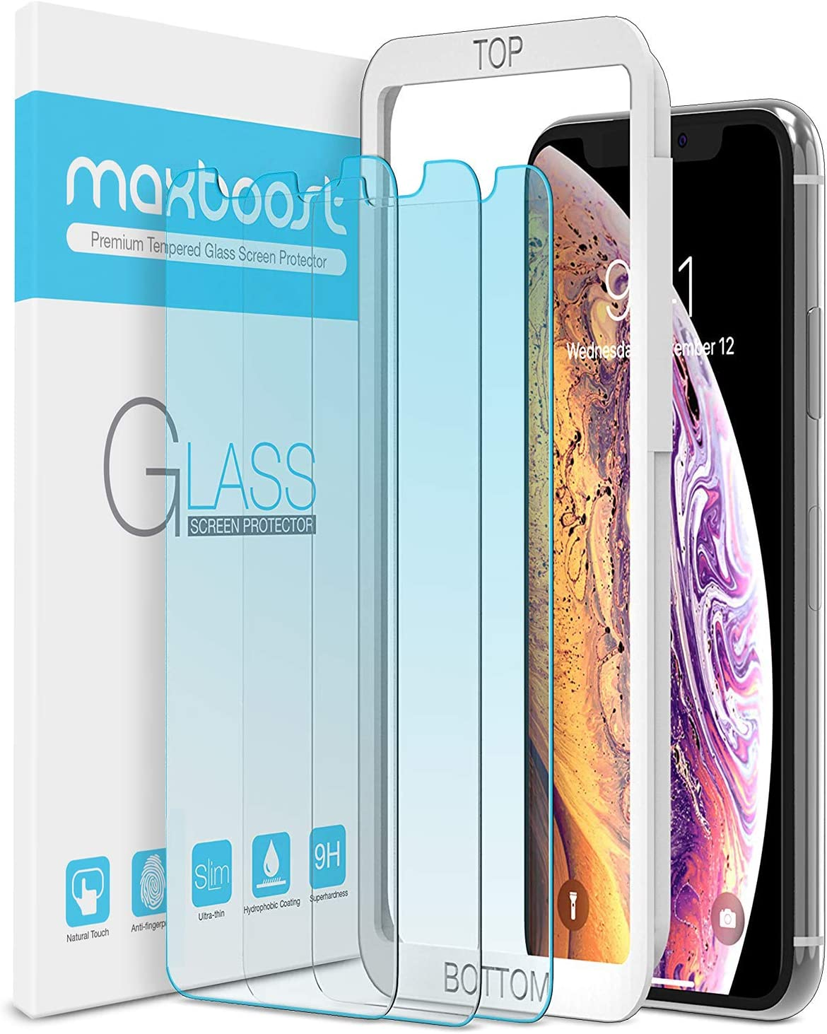 """Maxboost (3 Pack) Screen Protector with Anti-Blue Designed for Apple iPhone 11 Pro/iPhone XS/iPhone X (5.8"""")[Blue light Filtering + Eye Protection Tempered Glass] Advanced HD Glass Work Most Case"""