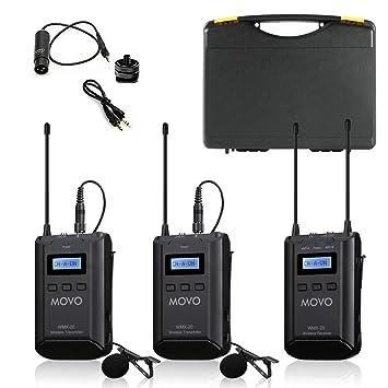 Movo WMX-20-DUO Sistema de micrófono de lavalier inalámbrico UHF ...