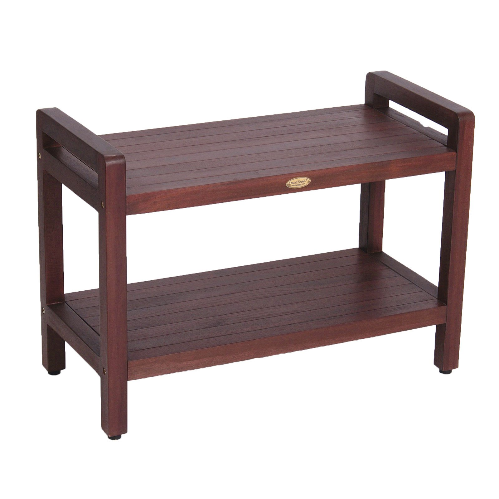 29'' Teak Shower Bench with Shelf and LIftAide Arms- Adjustable Foot Pads- Shower, Bath, Bathroom