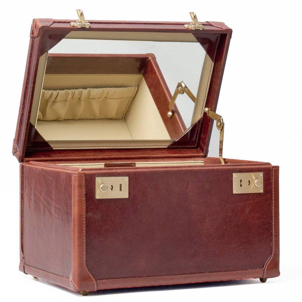 Maxwell Scott© Luxury Tan Leather Vanity Beauty Case (The Bellino) - One Size