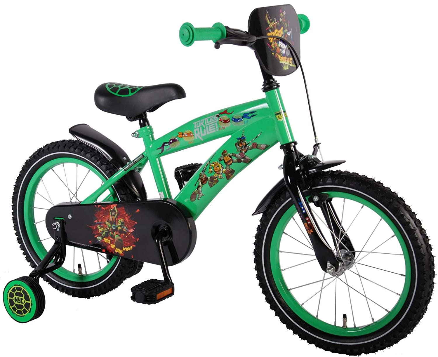 38ab8d6dcfe Ninja Turtles Boys Bike Bicycle Cross 16 inch Turtle Rule boys bicycle:  Amazon.co.uk: Sports & Outdoors