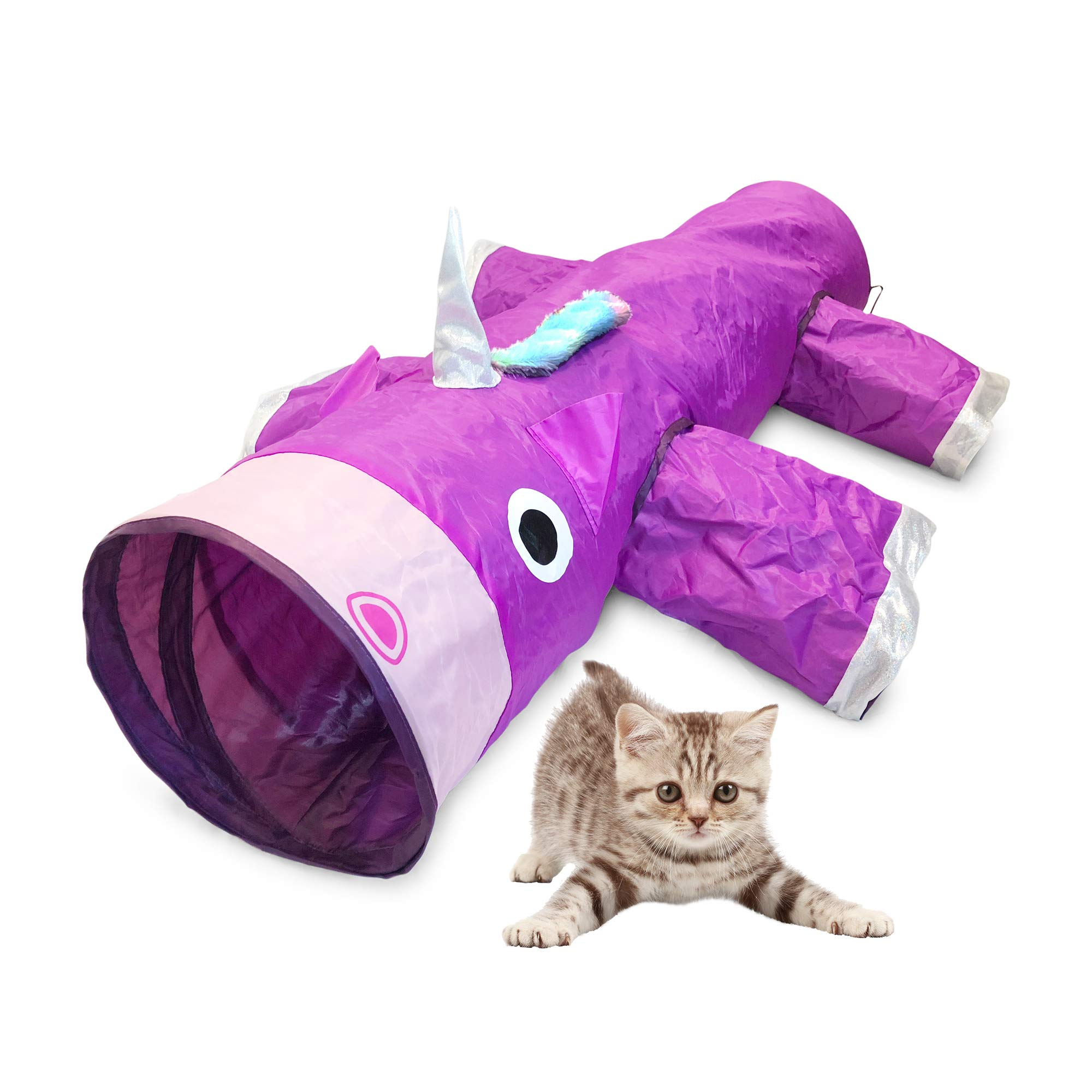 Pet Craft Supply Magic Mewnicorn Multi Cat Tunnel Boredom Relief Toys with Crinkle Feather String for Cats, Rabbits, Kittens, and Dogs for Hiding Hunting and Resting by Pet Craft Supply