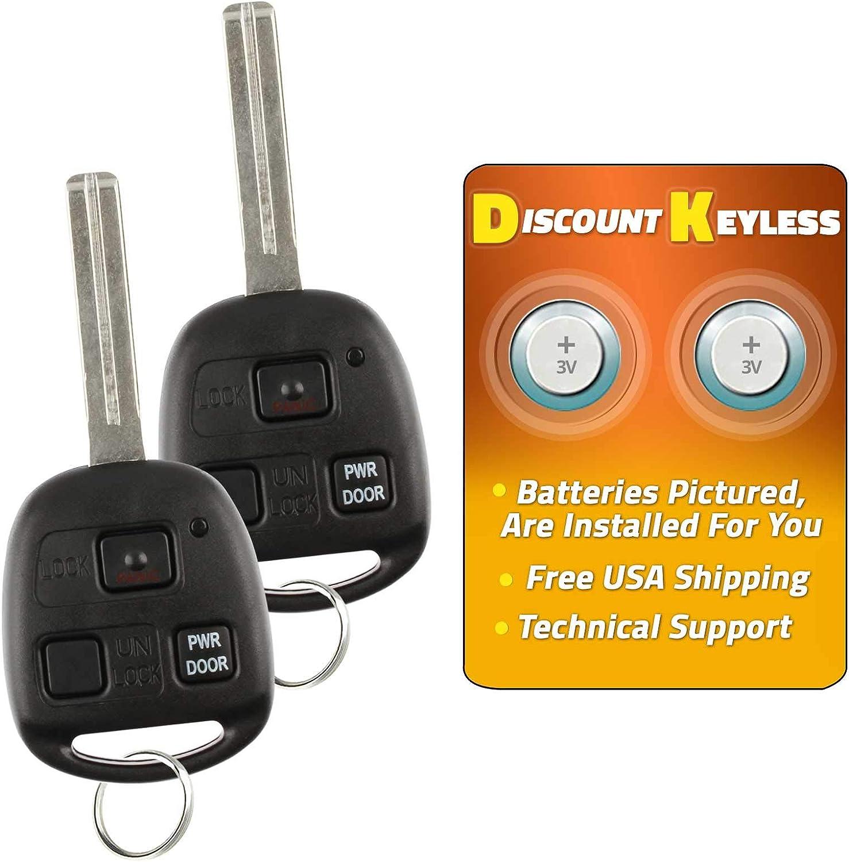 1511A-12BBT For 04-10 Lexus RX330 RX350 EX400h RX450h Keyless Entry Remote Key Fob W//Uncut Blade HYQ12BBT 2 PACK 89785-50031