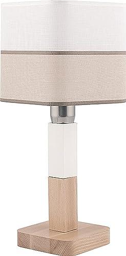 Lámpara de mesa plástico Madera Blanco Beige Rayas – Papelera ...
