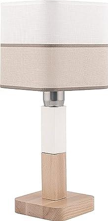 Lámpara de mesa plástico Madera Blanco Beige Rayas ...