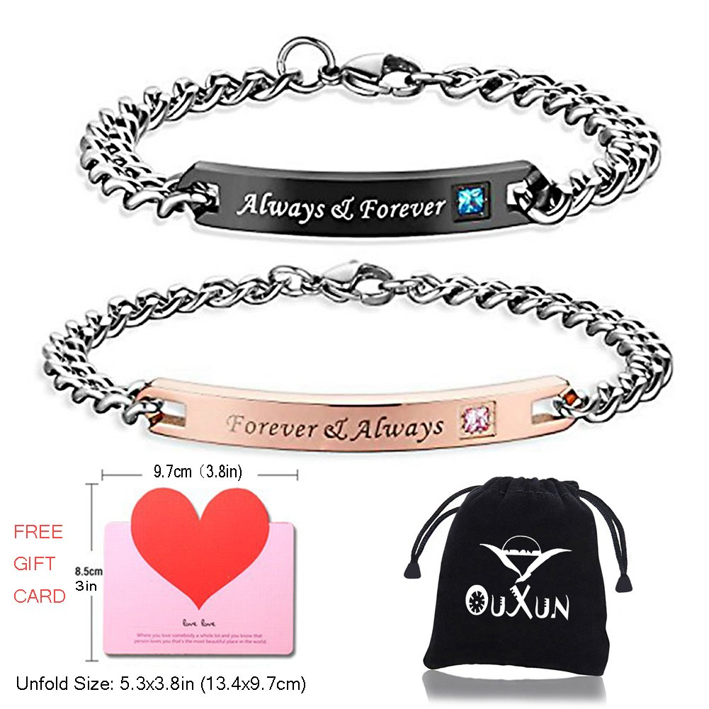 OUXUN Couples Bracelets for Boyfriend Girlfriend King Queen Him Her Engraved Crown Adjustable Stainless Steel Rose Gold Black Anniversary Gifts for Couples Wife