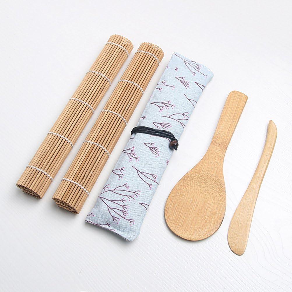 1 /épandeur de riz Toyvian Kit de fabrication de sushi en bambou comprend 2 tapis roulants pour sushi 1 serviette 5 paires de baguettes 1 palette de riz