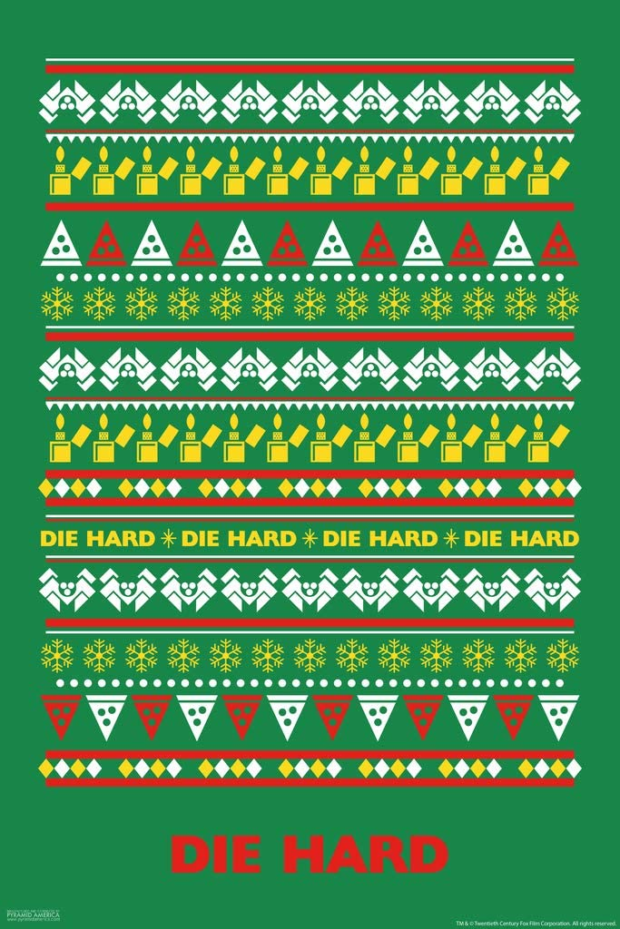 Amazon Com Die Hard Knit Ugly Sweater Pattern Action Movie Christmas John Mcclane Nakatomi Plaza Minimalist Cool Wall Decor Art Print Poster 12x18 Posters Prints