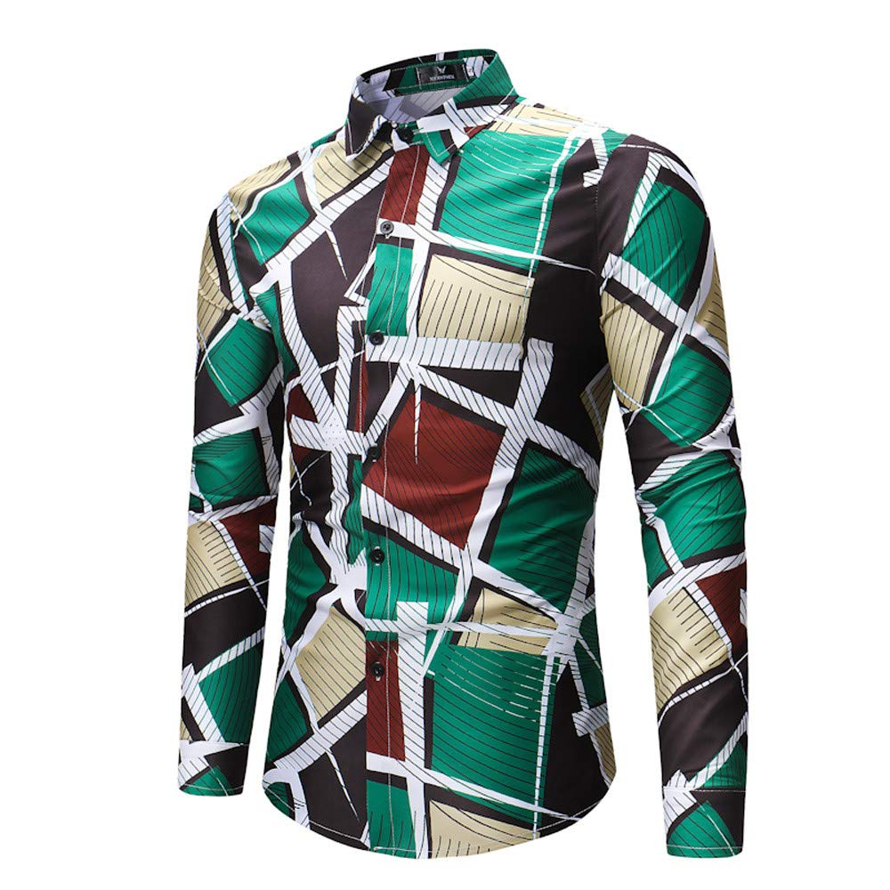 Willow S Mens Autumn Winter Fashion Button Shirt Geometry Printing Long Sleeve Lapel Collar Convertible Cuff Tops Blouse