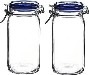Bormioli Rocco Bormioli Rocco Set OF 2 Fido Square Jars With Blue Bail And Trigger Lids, 50-3/4-ounc, 50.75oz