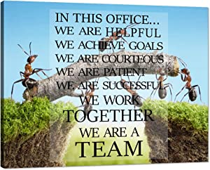 "Motivational Wall Art Inspirational Quotes Teamwork Definition Canvas Painting Sayings Words Pictures Ants Constructing Bridge Posters Prints Wooden Artwork Decor for Home Office Framed (18""Hx24""W)"