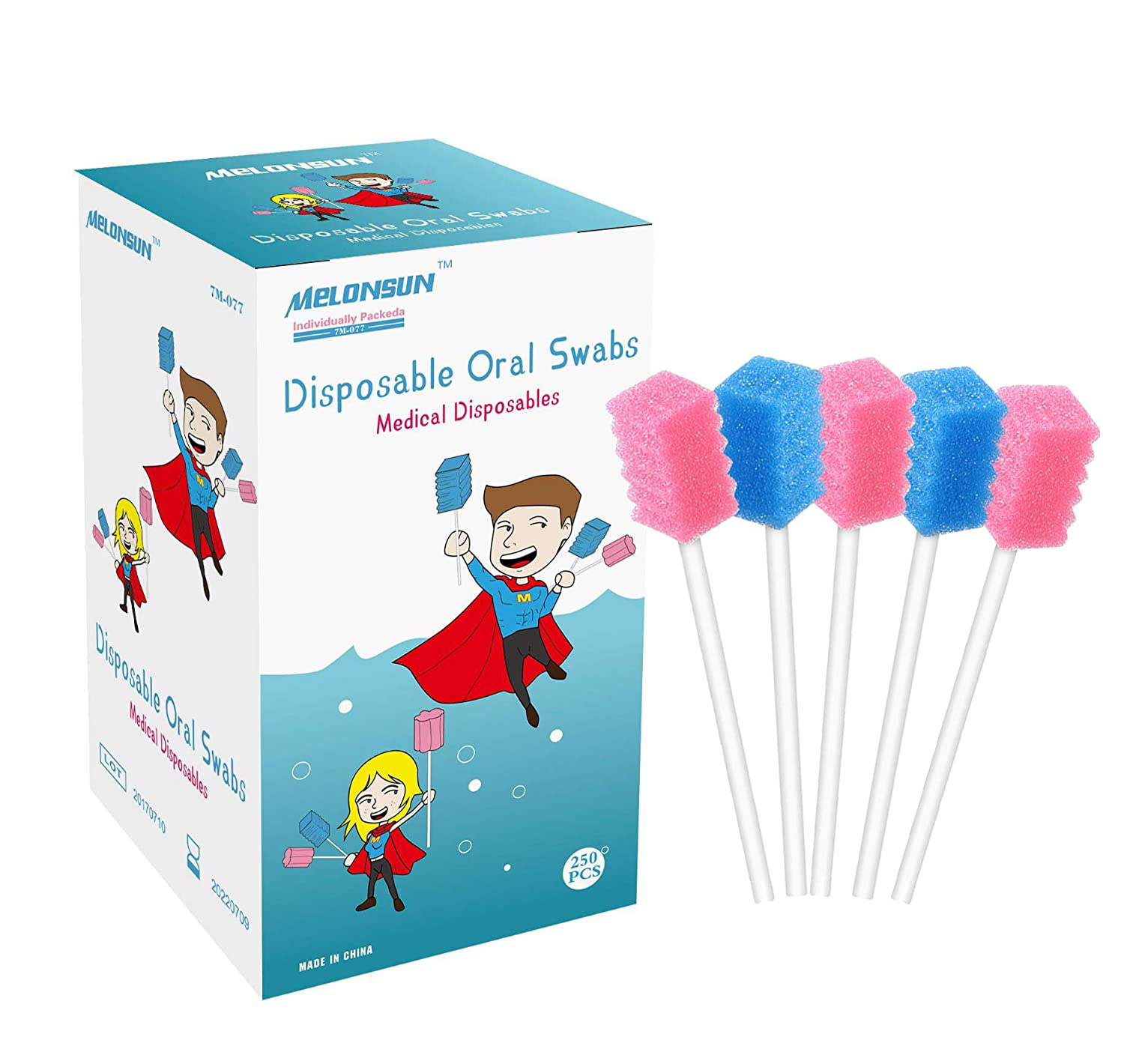 250PCS Disposable Oral Swabs, Individually Wrapped Mouth Swabs Sponge